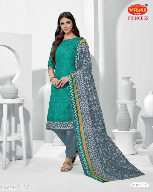 Semi Stitched Suits  Cotton Printed Dress Material Top Fabric: Cotton Cambric Lining Fabric: No Lining Bottom Fabric: Cotton Dupatta Fabric: Cotton Multipack: Single Sizes:  Un Stitched (Top Bust Size: Up To 44 in, Top Length Size: 42 in, Bottom Length Size: 2 m, Dupatta Length Size: 2.2 m)  Sizes Available: Un Stitched    Catalog Name: Cotton Cambric Suits & Dress Materials (Single Pack) CatalogID_1150129 C74-SC1522 Code: 017-7204831-