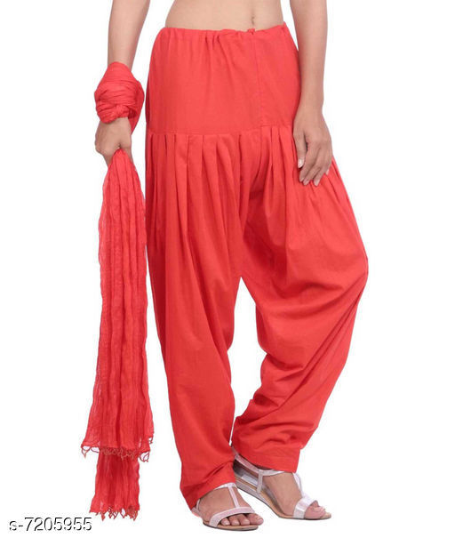 Ethnic Bottomwear - Patiala Pants Flouncy Women Patiala Pant With Dupattas   *Patiala Pant Fabric* Cotton  *Dupatta Fabric* Cotton  *Pattern* Solid  *Multipack* 1 Patiala Pant With 1 Dupatta  *