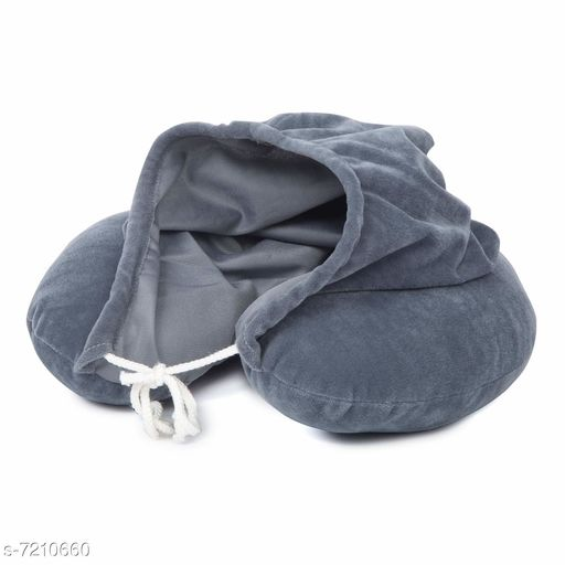 Billebon Neck Pillow with Hoodie - Airline Travel Neck Pillow Air line Sleeping Pillow Great for Long Road Trips and Flights (Grey) Free Size