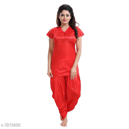 Nightdress Trendy Women's Nightdress  *Top Fabric* Satin  *Bottom Fabric* Satin  *Top Type* Shirt  *Bottom Type* Patiala Pants  *Sleeve Length* Short Sleeves  *Pattern* Solid  *Multipack* 1  *Sizes*   *Free Size (Top Bust Size* Up To 36 in To 38 in, Top Length Size  *Sizes Available* Free Size *    Catalog Name:  Attractive Women Nightdresses CatalogID_1151734 C76-SC1044 Code: 985-7213488-