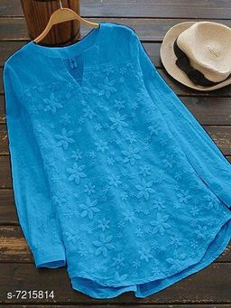 Women's Embroidered Blue Cotton Top