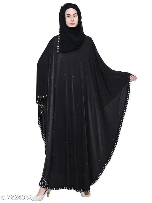 Binish Black Colour Women's Crystal Lycra Chadari Style Beads work Abaya Burkha