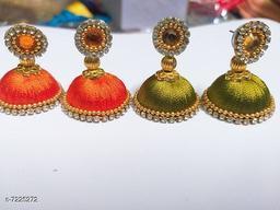 Threadwork Jhumka Earrings