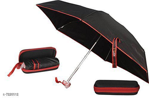 5 Fold Portable Black with RED Lining Umbrella with Case