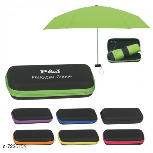5 Fold Portable ASSORTED COLOUR Lining Umbrella with Case