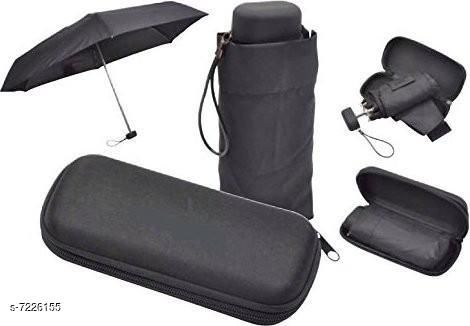 5 Fold Portable BLACK with Black lining Umbrella with Case