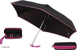 5 Fold Portable Black with PINK Lining Umbrella with Case