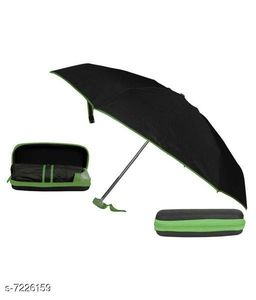 5 Fold Portable Black with GREEN Lining Umbrella with Case