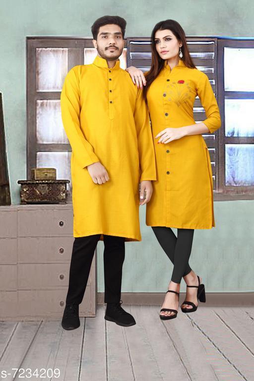 Women Rayon Slub A-line Embellished Yellow Kurti
