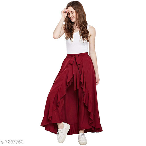 Women's Trendy Pent Skirt With Pure American Creap Solid Marron Color Free Size (28-38)