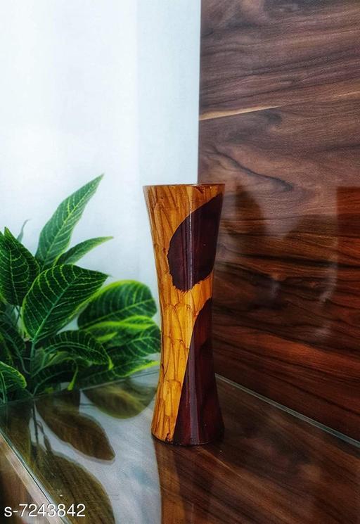 BS AMOR Artificial Flower Pot | Flower vase for Home Decoration | Flower Pot for Artificial Flowers Shining Wooden Vase
