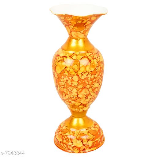 BS AMOR Metal Marble Look Vase with Texture (Flower Pot Yellow)…