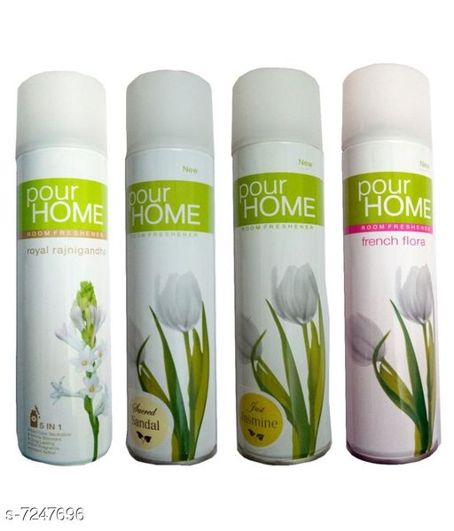 Fragrance & Deodorants 1 POUR HOME JUST JASMINE ROOM FRESHENER 225 ML+1 POUR HOME FRENCH FLORA ROOM FRESHENER 225 ML+1 POUR HOME ROYAL RAJNIGANDHA ROOM FRESHENER 225 ML+1 POUR HOME SACRED SANDAL ROOM FRESHENER 225 ML  *Product Name* 1 POUR HOME JUST JASMINE ROOM FRESHENER 225 ML+1 POUR HOME FRENCH FLORA ROOM FRESHENER 225 ML+1 POUR HOME ROYAL RAJNIGANDHA ROOM FRESHENER 225 ML+1 POUR HOME SACRED SANDAL ROOM FRESHENER 225 ML  *Brand Name* POUR HOME  *Type* Deodorant  *Multipack* 4  *capacity* 225  *Sizes Available* Free Size *    Catalog Name: POUR HOME JUST JASMINE ROOM FRESHENER CatalogID_1158205 C52-SC1304 Code: 065-7247696-695