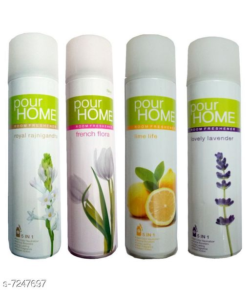 Fragrance & Deodorants 1 POUR HOME FRENCH FLORA ROOM FRESHENER 225 ML+1 POUR HOME LOVELY LAVENDER ROOM FRESHENER 225 ML+1 POUR HOME ROYAL RAJNIGANDHA ROOM FRESHENER 225 ML+1 POUR HOME LIME LIFE ROOM FRESHENER 225 ML  *Product Name* 1 POUR HOME FRENCH FLORA ROOM FRESHENER 225 ML+1 POUR HOME LOVELY LAVENDER ROOM FRESHENER 225 ML+1 POUR HOME ROYAL RAJNIGANDHA ROOM FRESHENER 225 ML+1 POUR HOME LIME LIFE ROOM FRESHENER 225 ML  *Brand Name* POUR HOME  *Type* Deodorant  *Multipack* 4  *capacity* 225  *Sizes Available* Free Size *    Catalog Name: POUR HOME JUST JASMINE ROOM FRESHENER CatalogID_1158205 C52-SC1304 Code: 065-7247697-695