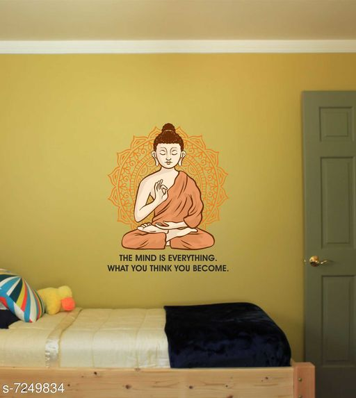 Wall Attraction buddha with quotes Wall Sticker For home decoration & decal Size -45cmX58cm