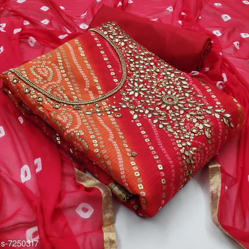 Kimisha Women's Red Kota Doria Unstitched Salwar Suit Material