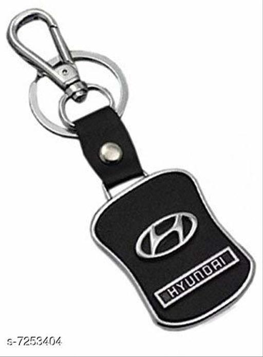 Advikavya Hyundai Black Leather Keychain