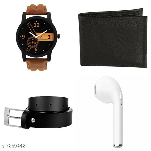 Watch With Rechargeable Bluetooth Earbuds, Belt & Wallet