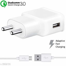 Fast Charging Compatible for All Android Devices 2 Amp Dual Engine Fast Mobile Charger with Fast Charge Data Cable (Samsung Qualcomm 3.0 Amp)