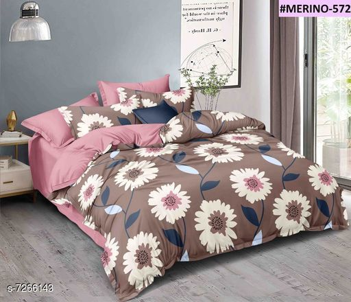 Beautiful Glace Cotton Printed Double Bedsheets with Pillow Covers