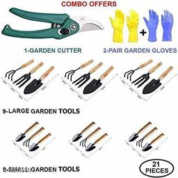 Gardening 21pc Combo -Cultivator(Big 3pc+Small 3pc), Trowel(Big 3pc+Small 3pc), Garden Fork(Big 3pc+Small 3pc), Garden Scissors Pruning Seeds & Reusable Mix-Color Gloves(2pcs)