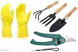 Gardening Tools - Reusable Rubber Gloves, Flower Cutter/Scissor & Garden Tool Wooden Handle (3pcs-Hand Cultivator, Small Trowel, Garden Fork)