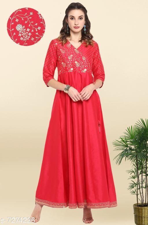 Women's Embroidered Pink Silk Blend Dress
