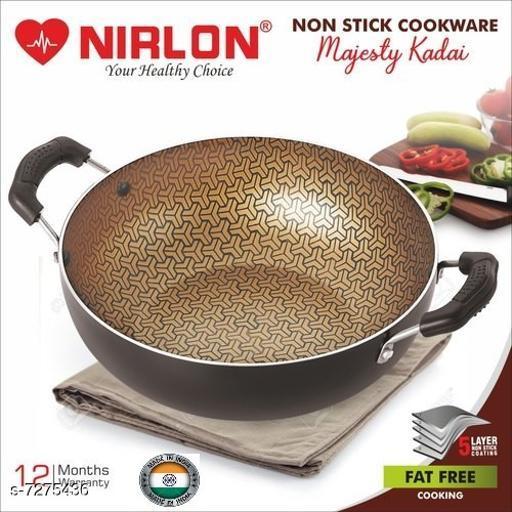 Nirlon Majesty Kitchen Accessories for Cooking Nonstick Kadhai/Wok2.25 Liter with Handle