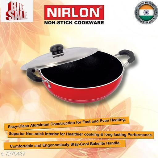 NIRLON Deep Pot with Lid Classic Range Non-Stick Cookware Curry Pan Size Medium, Red & Black (Aluminium)