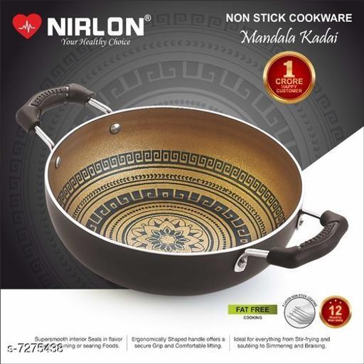 Nirlon Mandala Kitchen Accessories for Cooking Nonstick Kadhai/Wok2.25 Liter with Handle