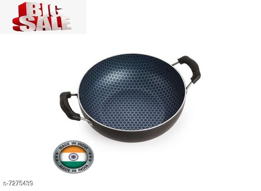 Nirlon Honeycomb Kitchen Accessories for Cooking Nonstick Kadhai/Wok2.25 Liter with Handle