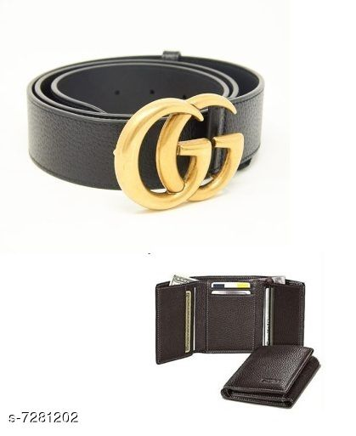 Samm & Moody Amazing PU Leather Belts and Wallets Combo