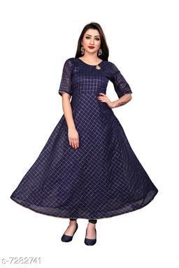 Women's Chanderi Cotton Navy Blue Anarkali Checked Printed Kurti