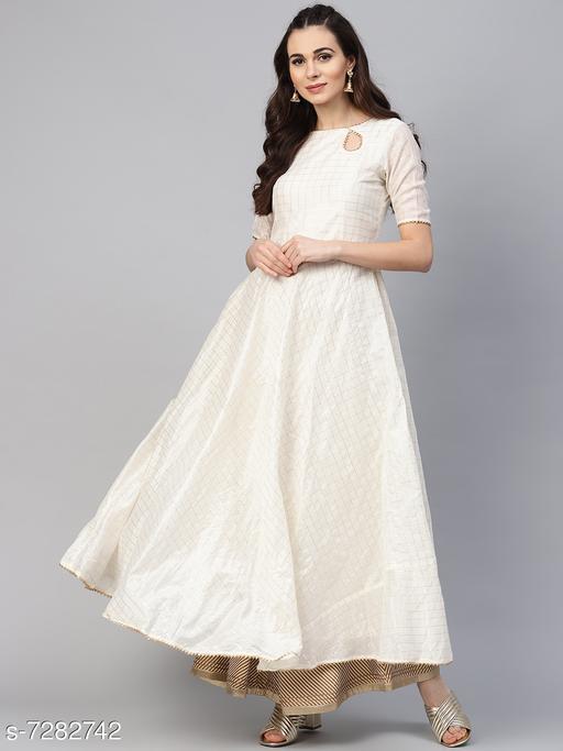 Women's Chanderi Cotton White Anarkali Checked Printed Kurti