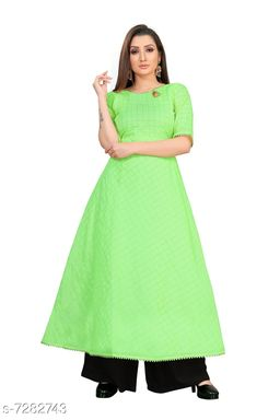 Women's Chanderi Cotton Green Anarkali Checked Printed Kurti