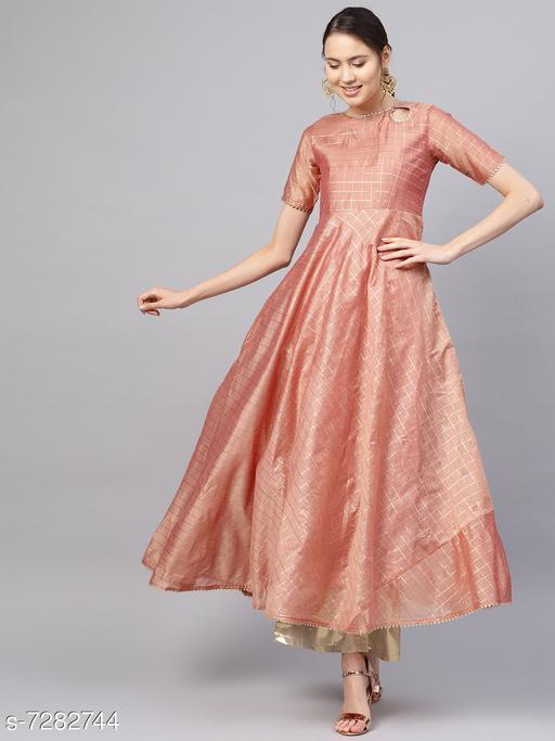 Women's Chanderi Cotton Peach Anarkali Checked Printed Kurti