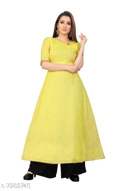 Women Chanderi Cotton Anarkali Printed Yellow Kurti