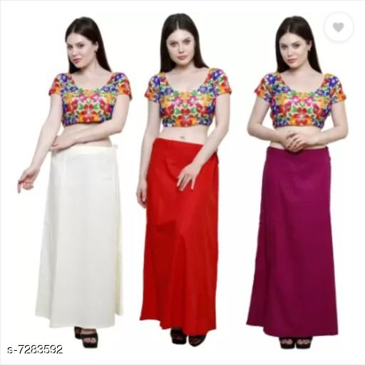 Ethnic Bottomwear - Petticoats PURE COTTON PETTICOAT  *Fabric* Cotton  *Pattern* Solid  *Multipack* 3 PETTICOAT  *Sizes*  Free Size  *Sizes Available* Free Size *   Catalog Rating: ★3.3 (6)  Catalog Name: Stylish Women Petticoats CatalogID_1165149 C74-SC1019 Code: 534-7283592-
