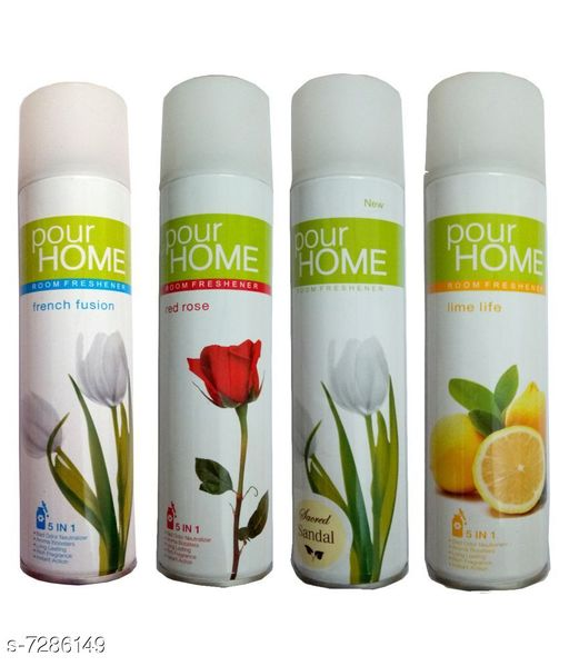 Home Fragrance 1 Pour Home Lime Life Room Freshener 225 Ml+1 Pour Home Sacred Sandal Room Freshener 225 Ml+1 Pour Home Red Rose Room Freshener 225 Ml+1 Pour Home French Fusion Room Freshener 225 Ml  *Product Name* 1 Pour Home Lime Life Room Freshener 225 Ml+1 Pour Home Sacred Sandal Room Freshener 225 Ml+1 Pour Home Red Rose Room Freshener 225 Ml+1 Pour Home French Fusion Room Freshener 225 Ml  *Brand Name* Pour Home  *Type* Room Freshener  *Capacity* 225 ml Each  *Pack* Pack of 4  *Sizes Available* Free Size *    Catalog Name: Pour Home Room Freshener Combo CatalogID_1165617 C127-SC1439 Code: 976-7286149-