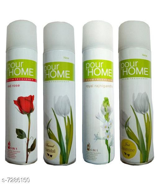 Home Fragrance 1 Pour Home Just Jasmine Room Freshener 225 Ml+1 Pour Home Royal Rajnigandha Room Freshener 225 Ml+1 Pour Home Sacred Sandal Room Freshener 225 Ml+1 Pour Home Red Rose Room Freshener 225 Ml  *Product Name* 1 Pour Home Just Jasmine Room Freshener 225 Ml + 1 Pour Home Royal Rajnigandha Room Freshener 225 Ml+ 1 Pour Home Sacred Sandal Room Freshener 225 Ml + 1 Pour Home Red Rose Room Freshener 225 Ml  *Brand Name* Pour Home  *Type* Room Freshener  *Capacity* 225 ml Each  *Pack* Pack of 4  *Sizes Available* Free Size *    Catalog Name: Pour Home Room Freshener Combo CatalogID_1165617 C127-SC1439 Code: 976-7286150-