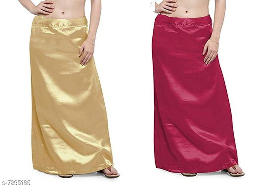 Ethnic Bottomwear - Petticoats Women Satin Petticoat Combo  *Fabric* Satin  *Pattern* Solid  *Multipack* 2 Women Ethnic Wear - Ethnic Bottomwear - Petticoats(Combo Pack Of 5)  *Sizes*   *Free Size (Waist Size* 46 in, Length Size  *Sizes Available* Free Size *    Catalog Name: Fancy Women Petticoats CatalogID_1167347 C74-SC1019 Code: 435-7295185-