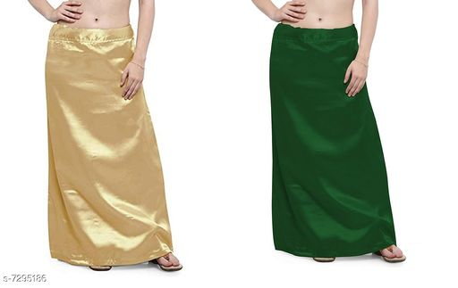 Ethnic Bottomwear - Petticoats Women Satin Petticoat Combo  *Fabric* Satin  *Pattern* Solid  *Multipack* 2 Women Ethnic Wear - Ethnic Bottomwear - Petticoats(Combo Pack Of 2)  *Sizes*   *Free Size (Waist Size* 46 in, Length Size  *Sizes Available* Free Size *    Catalog Name: Fancy Women Petticoats CatalogID_1167347 C74-SC1019 Code: 435-7295186-