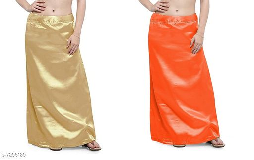 Ethnic Bottomwear - Petticoats Women Satin Petticoat Combo  *Fabric* Satin  *Pattern* Solid  *Multipack* 2 Women Ethnic Wear - Ethnic Bottomwear - Petticoats(Combo Pack Of 6)  *Sizes*   *Free Size (Waist Size* 46 in, Length Size  *Sizes Available* Free Size *    Catalog Name: Fancy Women Petticoats CatalogID_1167347 C74-SC1019 Code: 435-7295189-