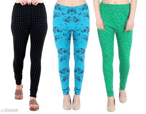 LOVO Women's Cotton Printed Ankle Length Leggings (Black, Green, Orange) Pack of 3