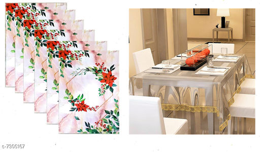 Beautiful  Dining Table Cover Combo With Six Table PlacematsLACEMATS