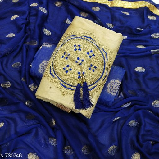 Adorable Cotton Satin Embroidery Suit