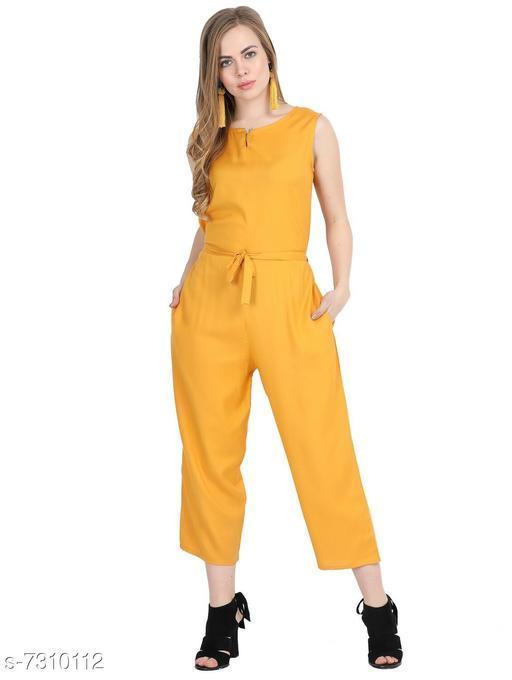 Mainsa Yellow Color Rayon Fabric Regular Wear Jump Suit