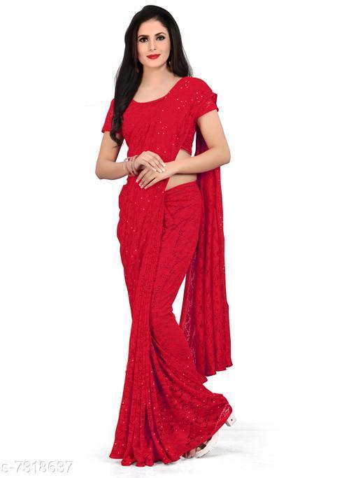 Baabeez World Self Design Daily Wear Cotton NET Saree  (RED)