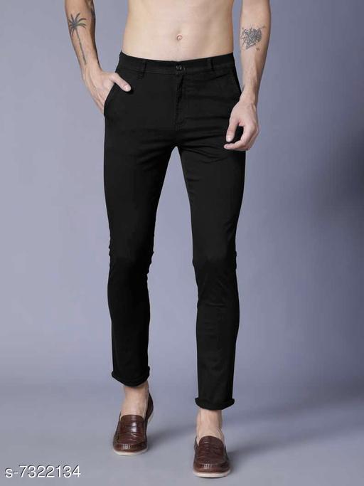fashlook black casual pant for men