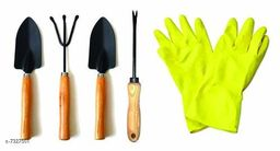 Gardening Tools - Hand Cultivator, Small Trowel, Garden Fork, Hand Weeder Straight with 1-Pair Rubber Gloves (Set of 5)